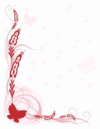 A pink and red border featuring butterflies and scrolls