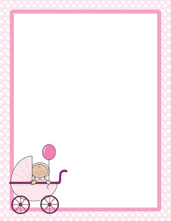 baby girl: Polka dot border with  girl in a carriage in one corner Illustration