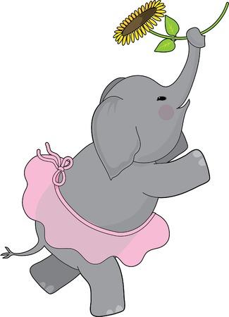 チュチュで踊っている象と彼女のトランクにヒマワリを保持