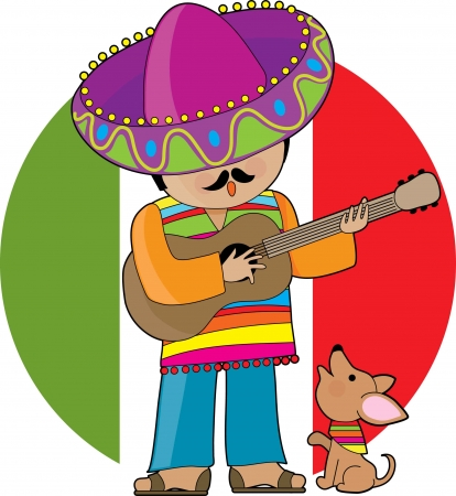 serenade: A Mexican man playing guitar and serenading his little chihuahua Illustration