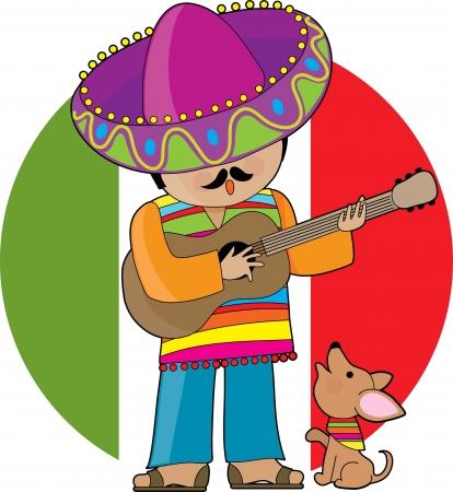 poncho: Un hombre mexicano tocar la guitarra y poco serenading su chihuahua