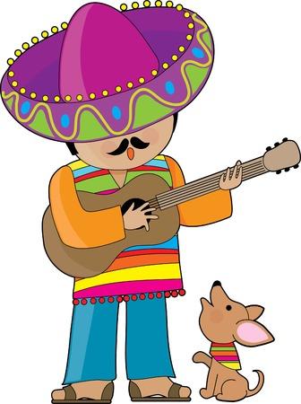 serenata: Un hombre mexicano a tocar la guitarra y su peque�o chihuahua serenading Vectores