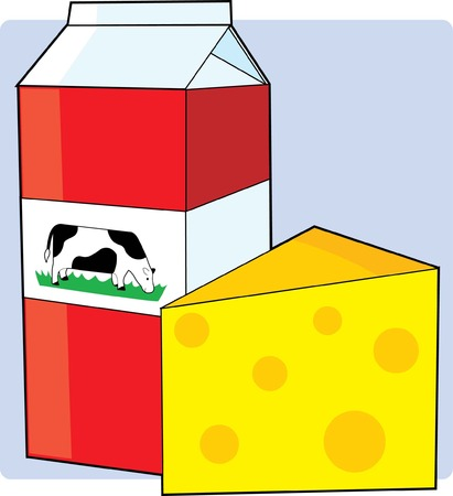 A carton of milk and a slice of swiss cheese
