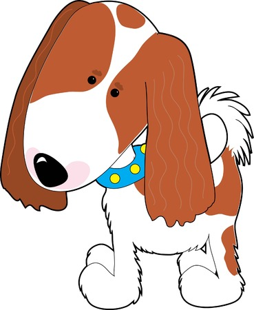 charles: A cartoon of a Cavalier King Charles Spaniel on a white background