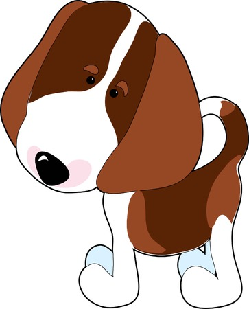 A cartoon of a Beagle on a white background Illustration