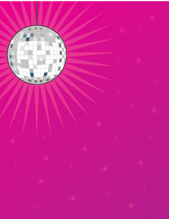 A shiny disco ball on a bright pink background with stars Vector