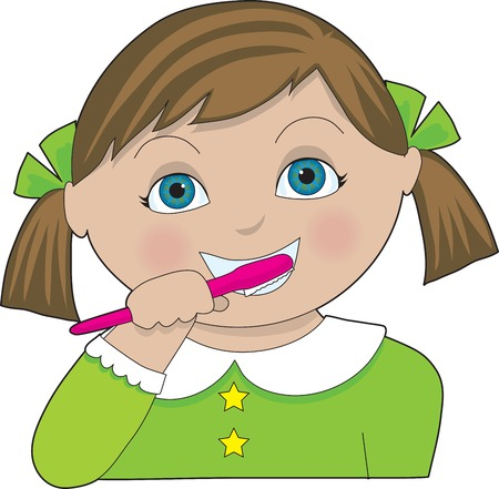 A little girl with pigtails brushing her teeth