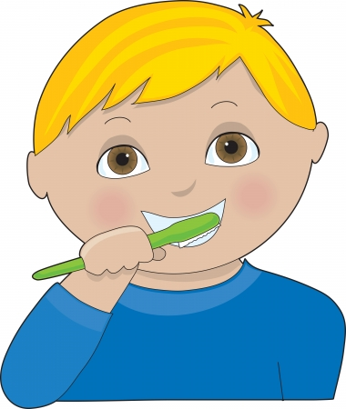 A little boy brushing his teeth Illusztráció