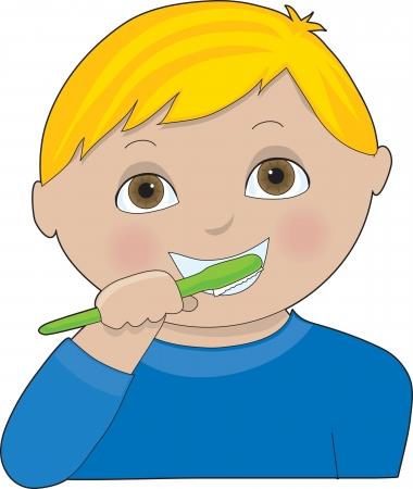 Een kleine jongen die zijn tanden poetst