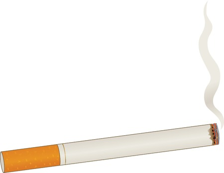 cigarette: A single lit cigarette with a billow of smoke Illustration