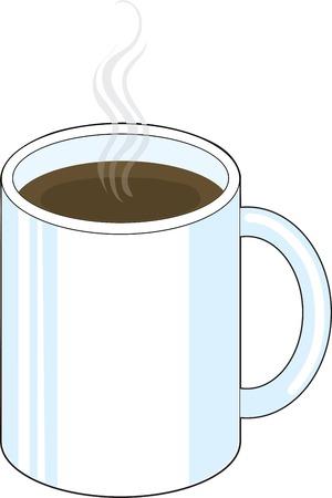 A white mug of steaming coffee or tea