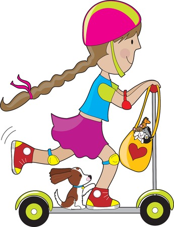 A little girl and her dog going for a ride on a scooter. A bag of favorite stuffed toys is hanging from the steering wheel. Illustration