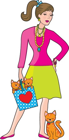 A young, very fashionable woman wearing a lot of jewellery and holding a bag with two kittens in it.  The mother cat is leaning against her leg. Vector