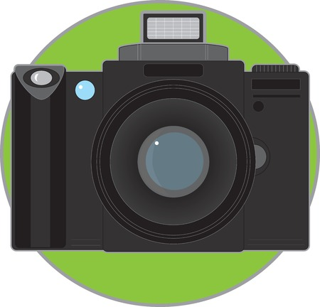 A single camera on a green circle background