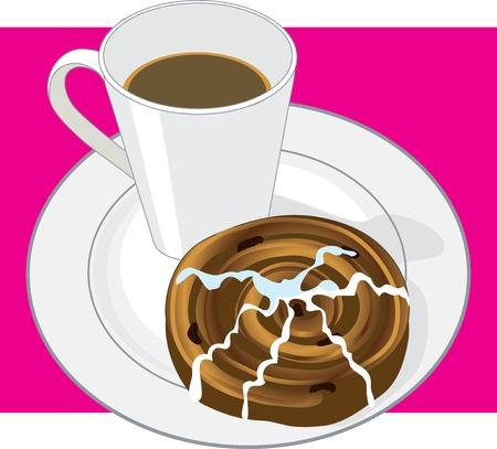 A mug of hot coffee and a cinnamon bun on a white plate Çizim