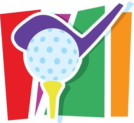 golfclub: Een golfclub en de bal op een gestileerde gestreepte achtergrond