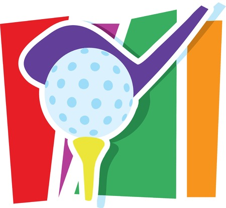 A golf club and ball on a stylized striped background