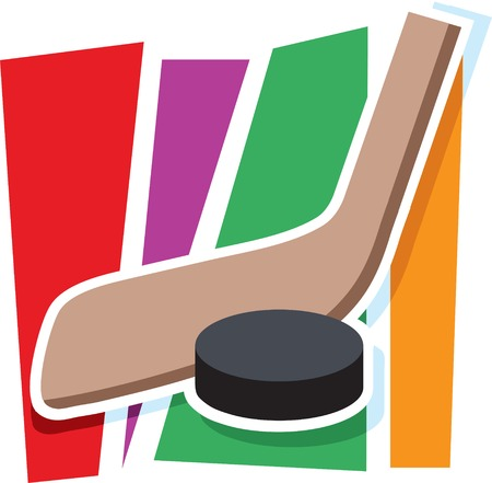 A hockey stick and puck on a stylized striped background