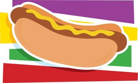 A single hot dog on a stylized striped background Иллюстрация