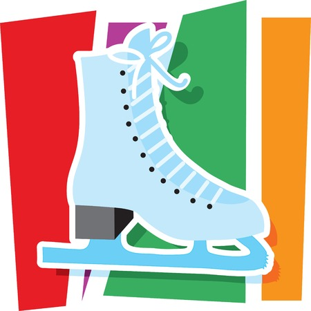 An ice skate on a stylized striped background
