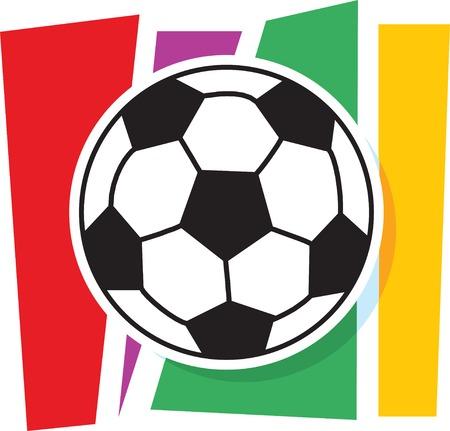 A stylized soccer ball on a striped background
