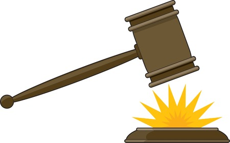 Judges gavel striking its base with a yellow impact star
