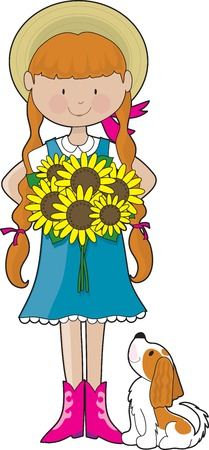 Young girl dressed in country style clothing, holding a bouquet of sunflowers. Her little dog, a Cavalier King Charles Spaniel, is looking up at her