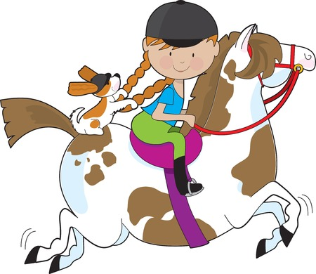 A little girl riding a painted pony with a Cavalier King Charles Spaniel sitting behind her and holding on to her braids