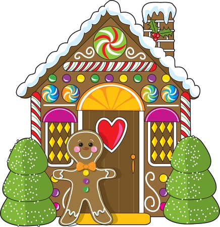 A cute little decorated gingerbread house with a gingerbread man standing at the doorway.  Candies and gumdrops are part of the decorations.