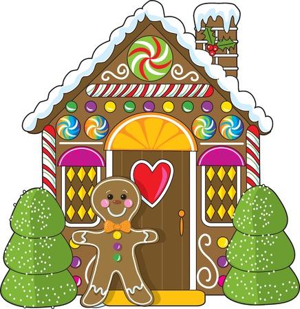 Un petit pain d'épices maison décorée avec un pain d'épices homme debout à la porte. Bonbons et gumdrops font partie des décorations.  Vecteurs