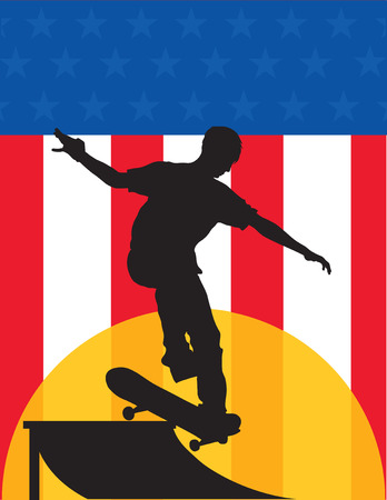 Black silhouette of a skateboarder going up a ramp against a backdrop of a US flag.