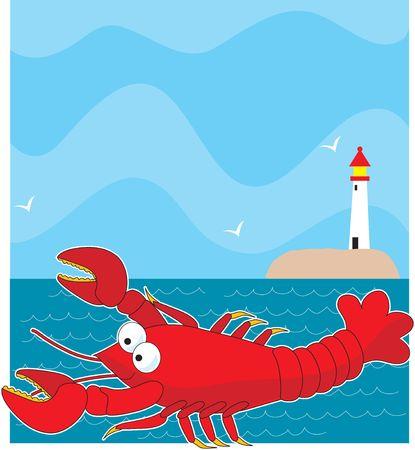 大赤漫画スタイルのロブスター。背景は、地平線上の光と海です。