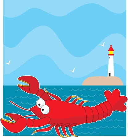 A large red cartoon style lobster. The background is the ocean with a light  on the horizon.