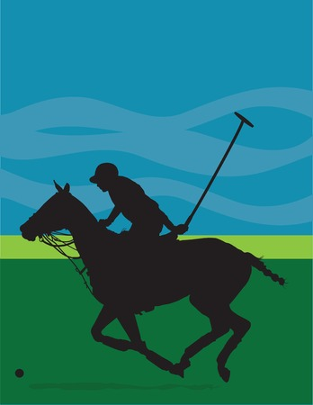 Black silhouette of a polo player and horse against a blue and green background Иллюстрация