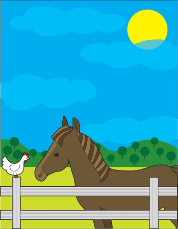 A chestnut horse in a fenced field.  He is looking at a chicken that is sitting on the fence.