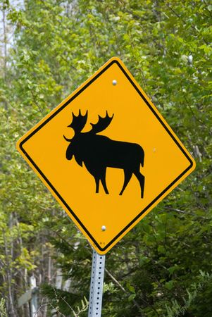 posted: Moose Sign on the side of a highway in Canada