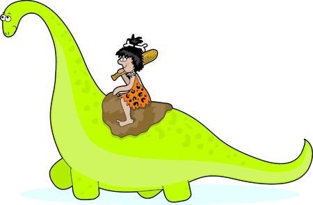 monstrous: A caveman riding on the back of a green brontosaurus