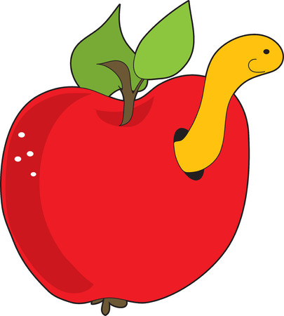 A red apple with a yellow worm poking out of it Ilustracja
