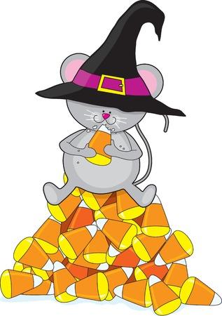 Eine kleine Maus sitzt auf einem Stapel von Halloween S��igkeiten Mais.