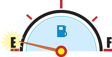gas gauge: A gas gauge with its needle on empty.