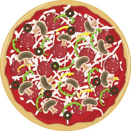 マッシュルーム、ピーマン、ピーマンとそれにオリーブ全体おいしいピザです。 写真素材 - 3608313