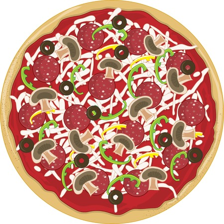 pepperoni: A whole tasty pizza with mushrooms,pepperoni,green peppers and olives on it.