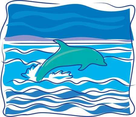 waves: A dolphin jumping out of the waves on an ocean