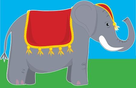 A circus elephant standing still and wearing a fancy blanket and head dress