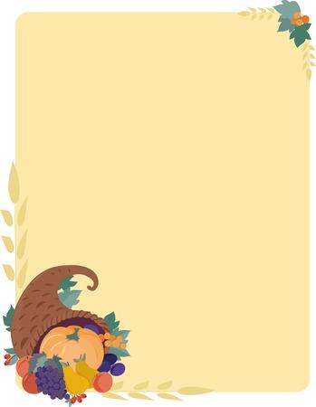 cuerno de la abundancia: Un oto�o con un fondo con una cornucopia de calabaza