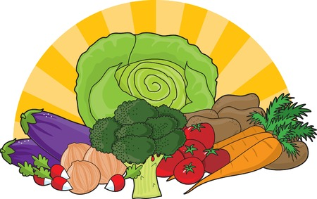 An assortment of fresh vegetables with sunrays in the background Vector