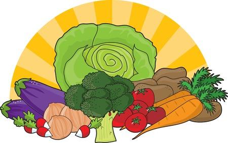 Un surtido de verduras frescas con los sunrays que en el fondo