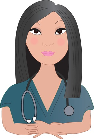 A front view of an Asian nurse with a stethoscope