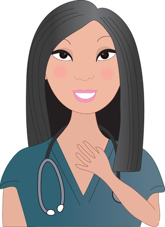 A front view of an Asian nurse smiling with a stethoscope