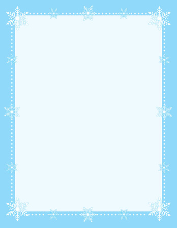 Simple snowflake border pale blue center and framed with white snowflakes